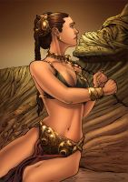 Slave Leia: Carrie Fisher by paulabstruse