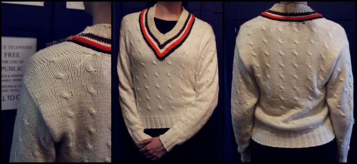 5th Doctor's Cricket Sweater by ThePeculiarMissE