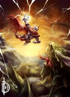 The God of Thunder vs The Midgard Serpent by DawnbreakerDESIGNS
