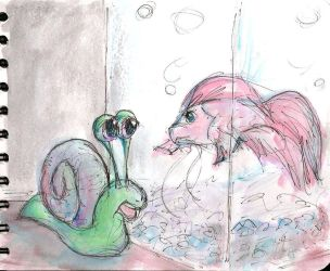 Snail and Betta by Schlady