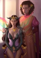 Kayla The Dragon And Aran The Autumn Prince by StalinDC