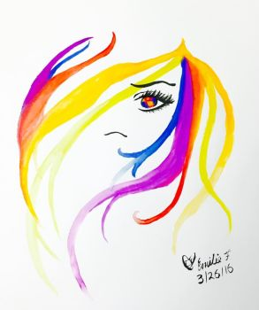 Watercolor - Rainbow Chick by emi1296