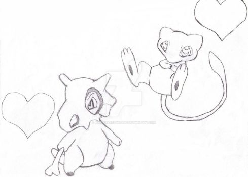 Cubone and Mew by NightmarezDreamz