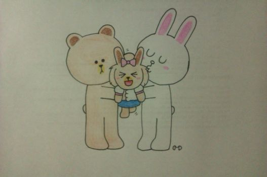 LINE - Brown and Cony fan child by DashKnife-edge