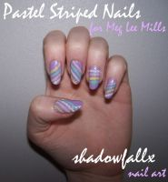 Pastel Striped Nails by shadowfallx
