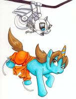 My Little Portal: Wheatley and Chell by rajamitsu