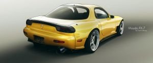 Mazda RX-7 Yellow by DanielTalhaug