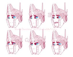 Optimus Prime expressions by VanaBananaSplit