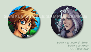 Random: Sora and Sephy buttons by Aerilien