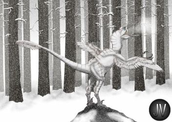Troodon in snow by Vitor-Silva