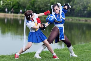Chun Li vs Sakura by NyaWright