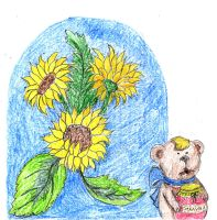 Teddy with sunflowers by saysly