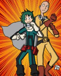 Deku and Caped Baldy [Colored] by Retro7