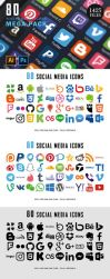 80 Social Media Icons Mega Pack - Download by honnumgraphicart