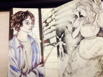 old Harry Potter and Alice sketches by BlackCoffeeManiac