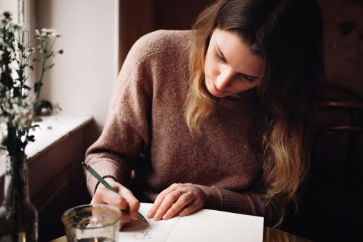 drawing in cafes by Rona-Keller