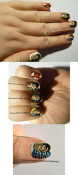 Various - Fandom Valentine's Day nails by ShiversTheNinja
