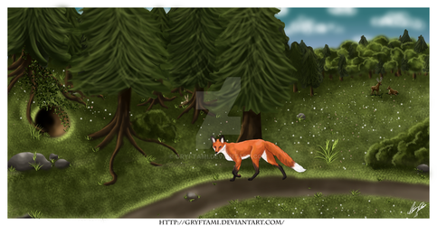 Hursina wandering in the forest by Gryftami