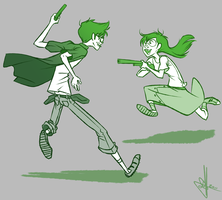 Kids playing with guns at Three in the Morning by Daiacos