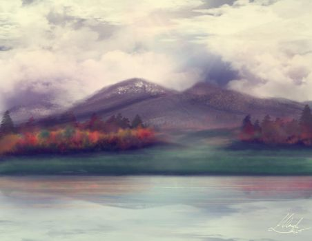 Scenic painting- mountains and valley by Chronos-Kun