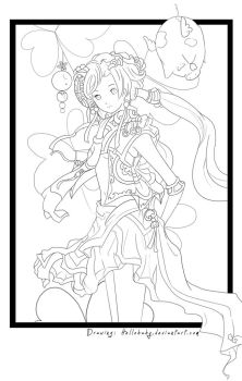 Clover girl Lineart by Hellobaby