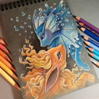 Vaporeon and Flareon by AlviaAlcedo