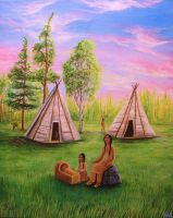 Mi'kmaq Family Sitting Together by Marybriannemckay