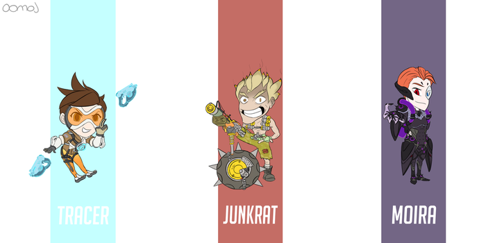 Overwatch - Tracer, Junkrat, Moira by oomoj