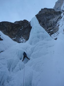 The Pencil, ice climbing Banff, BC Canada by Chromophobian