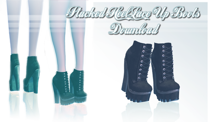 Stacked Heel Lace Up Boots - MMD Download by Shiremide1