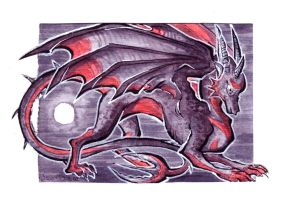 ACEO - Adopt a moon Dragon by LeoDragonsWorks