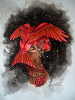 Red Night Gryphon by MartyDeath