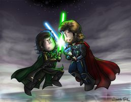 Battle of the Heroes - Loki and Thor by DarthxErik