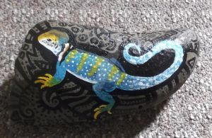 No. 9 - Collared Lizard Rock Painting by MasterKrypton