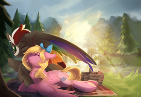 Commission - Picnic Cuddles by TangoMangoFandango