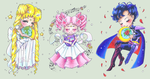 Sailor Moon Chibis [+SpeedArt 2 of 2] by NasikaSakura