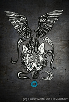 Winged Wolf Tribal by BlueSpiritWolf6