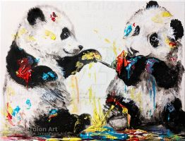 Pandas playing with paint