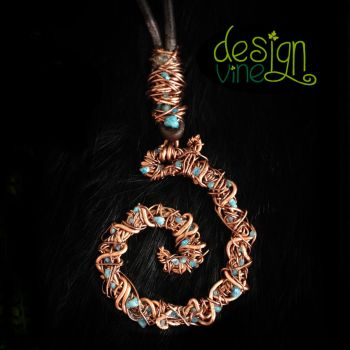 Copper Wire and Blue Apatite Tangled Coil Necklace by merrypranxter