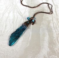 Single Dragonfly Wing Necklace in Aqua (Closeup) by glittrrgrrl