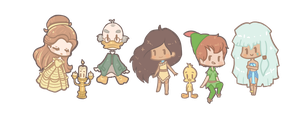 Disney chibis by tea-hee