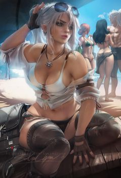 Ciri Modern beach day by sakimichan