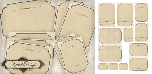 Vintage Style Printable Blank Labels by VectoriaDesigns