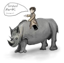 Cas and his pet rhino, Babe by cozzybob