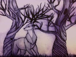 The deer in the forest by Zivichi