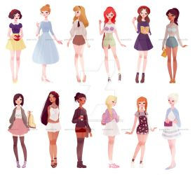 casual princesses + one queen by muttonfudge