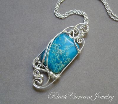 Blue Ocean Jasper Pendant with Sterling Silver by blackcurrantjewelry