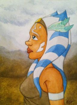 Western AU Ahsoka Watercolor by TerribleToadQueen