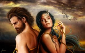 Calypso and Odysseus by dewmanna