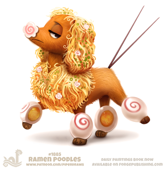 Daily Paint 1885# Ramen Poodles by Cryptid-Creations